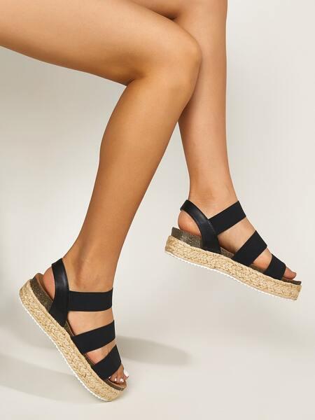 Minimalist Espadrille Strappy Wedges Sandals