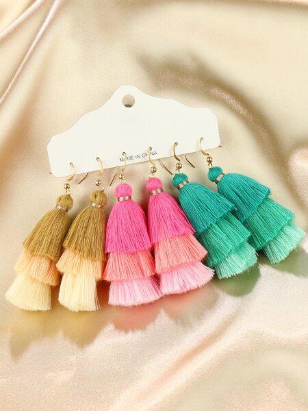 Layered Tassel Drop Earrings