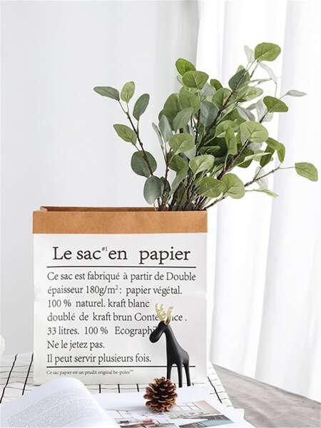 Letter Print Kraft Paper Flower Vase