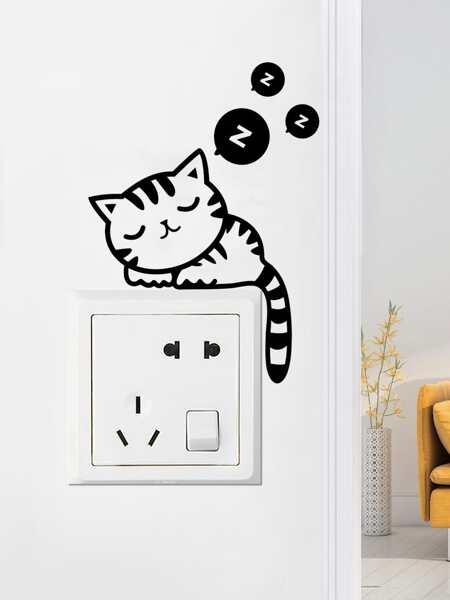 Cartoon Cat Print Switch Sticker