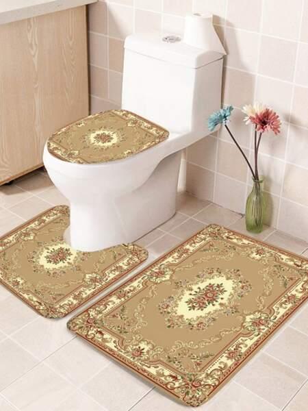 1pc Flower Print Bathroom Non-slip Toilet Mat