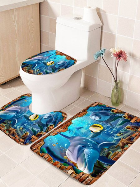1pc Dolphin Print Bathroom Non-slip Toilet Mat