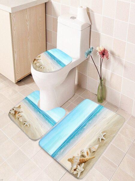 1pc Beach Print Bathroom Non-slip Toilet Mat