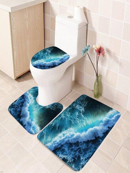 1pc Sea Print Bathroom Non-slip Toilet Mat