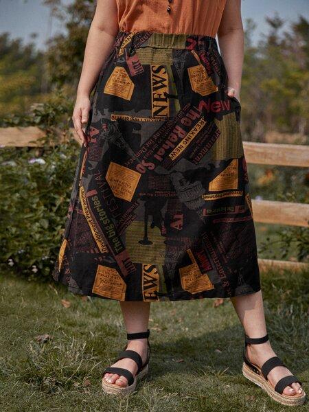 Plus Slant Pocket Letter Graphic Skirt