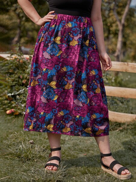 Plus Allover Floral Print Flare Skirt