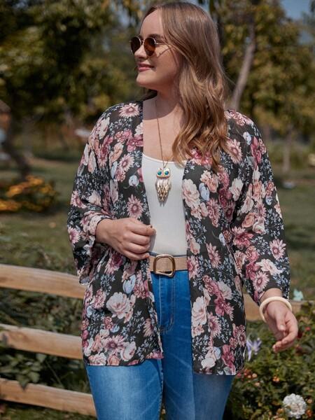 Plus Allover Floral Print Kimono