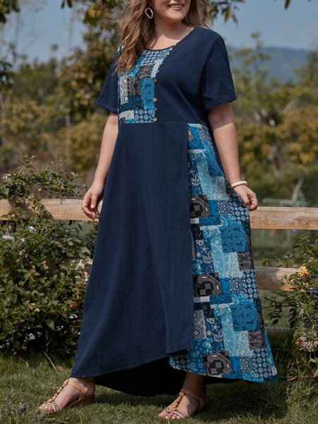 Plus Patchwork Print Wrap Hem Dress