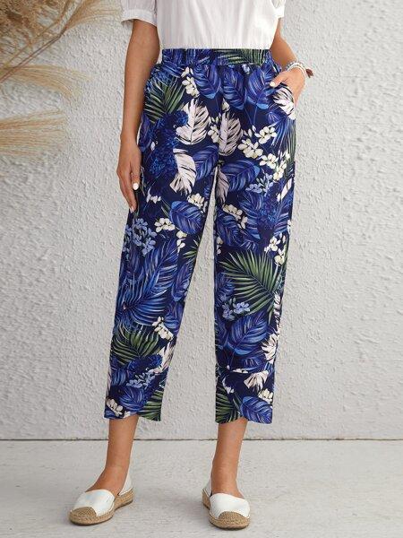 Floral & Tropical Print Capris Pants