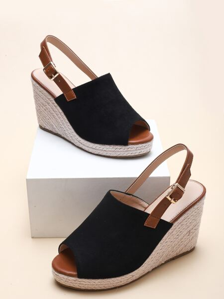 Peep Toe Slingback Wedge Sandals