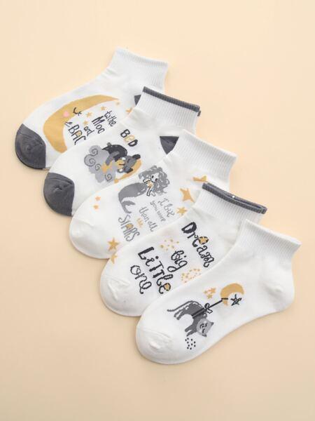5pairs Cartoon Graphic Ankle Socks