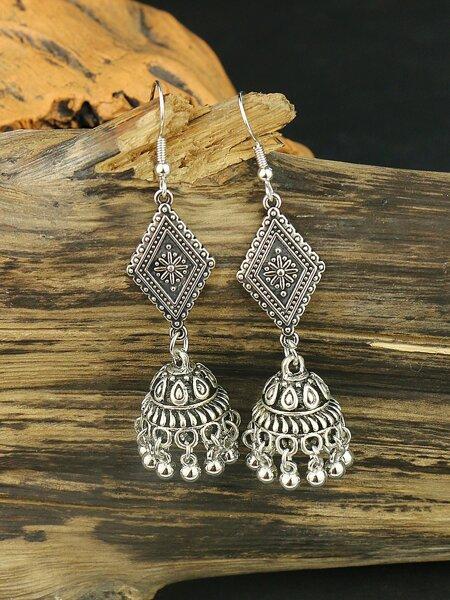 Geo Decor Jhumka Tassel Drop Earrings