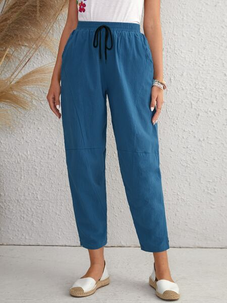 Knot Front Solid Carrot Pants