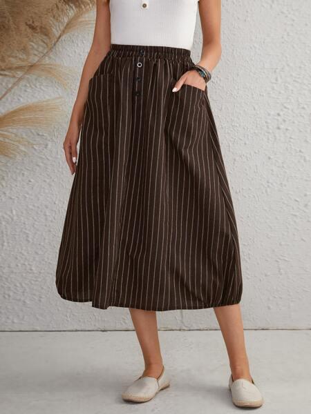 Dual Pocket Stripe Skirt