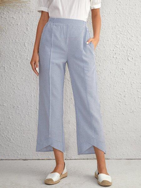 Striped Print Slant Pocket Wide Leg Pants