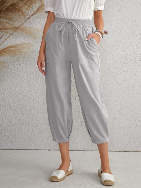 Slant Pocket Capris Tapered Pants