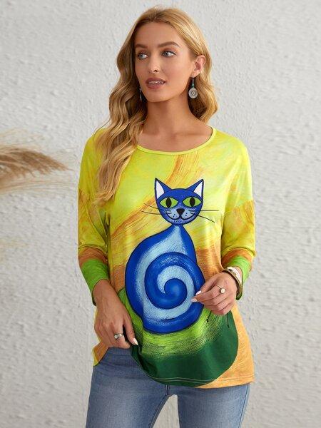 Cartoon Cat Print Drop Shoulder Tee