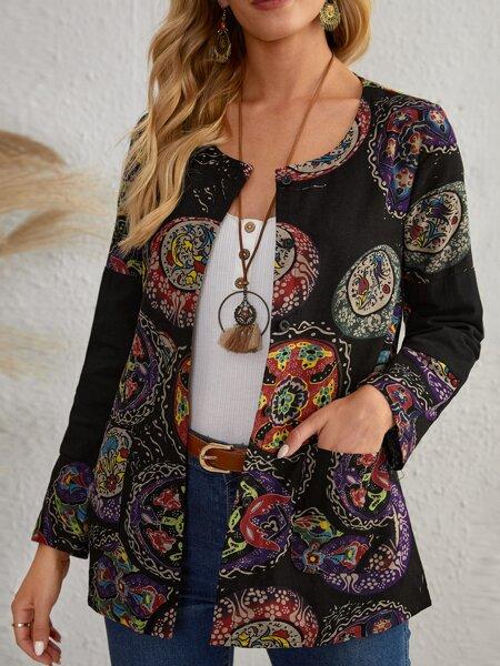 Floral Print Dual Pocket Coat