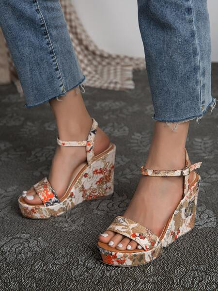 Floral Graphic Ankle Strap Wedge Sandals