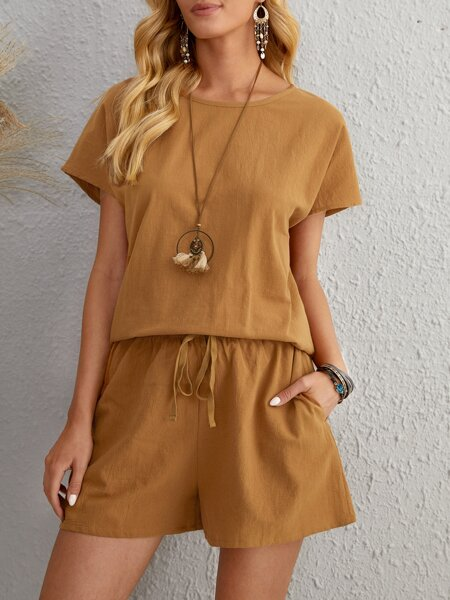 Batwing Sleeve Solid Top & Shorts Set