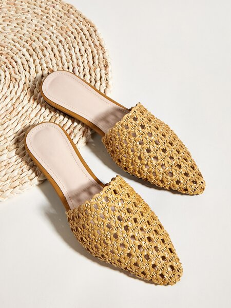 Hollow Out Braided Design Flat Mules
