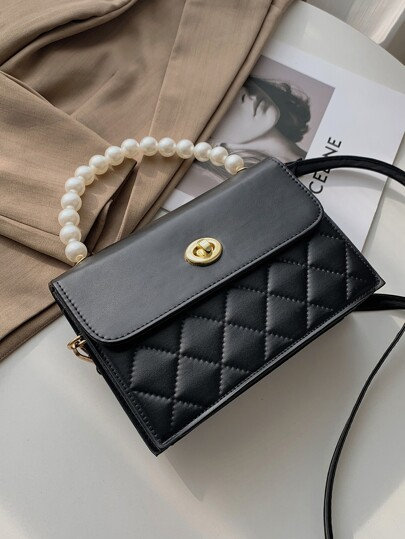 Faux Pearl Handle Quilted Satchel Bag