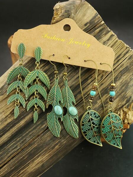 3pairs Leaf Decor Drop Earrings
