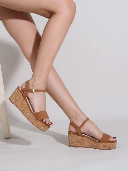 Ankle Strap Cork Wedge Sandals