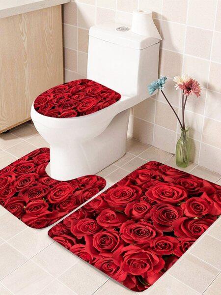 1pc Rose Print Closestool Anti-slip mat