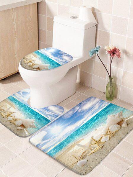 1pc Beach Print Closestool Anti-slip mat