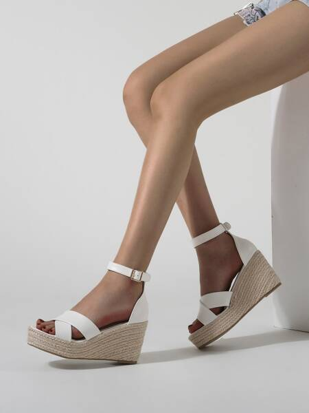 Criss Cross Ankle Strap Espadrille Wedge Sandals