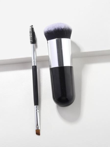 1pc Foundation Brush & 1pc Double-headed Eyelash Brush
