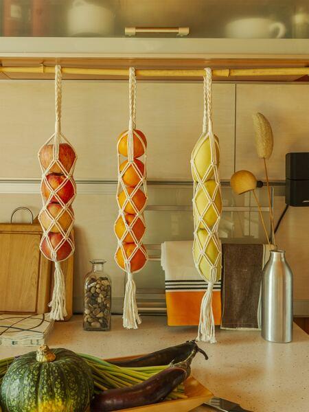 1pc Woven Wall Hanging Net Bag