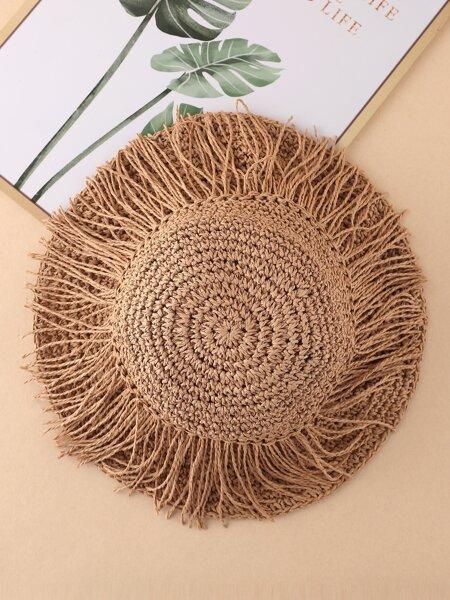 Fringe Decor Straw Hat