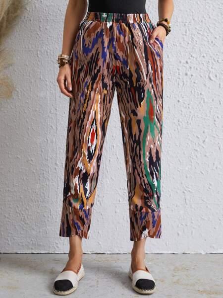 Allover Print Pocket Crop Pants