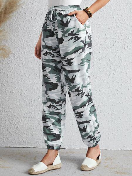 Camo Print Knot Waist Pocket Sweatpants