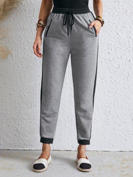 Drawstring Waist Pocket Crop Sweatpants