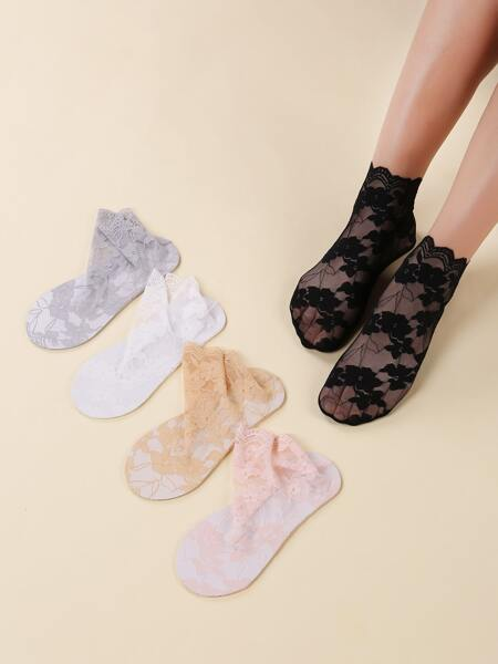5pairs Lace Ankle Socks