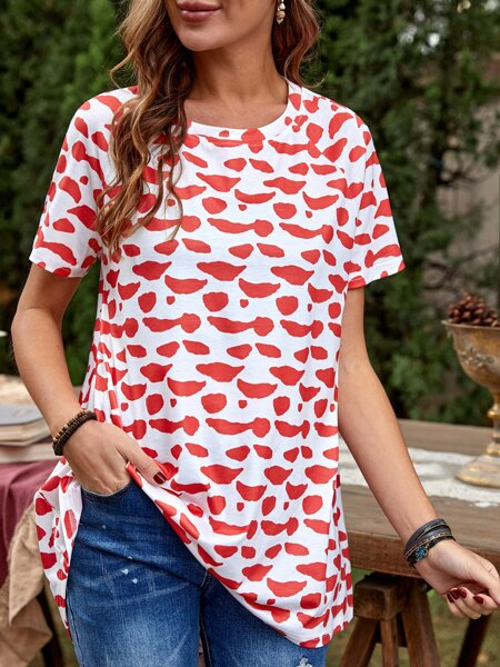 All Over Print High Low Tee