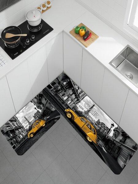 1pc Car Print Kitchen Rug