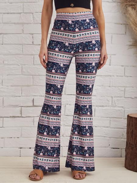 Flare Leg Floral Print Pants