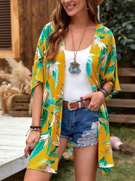 Open Front Tropical Print Kimono