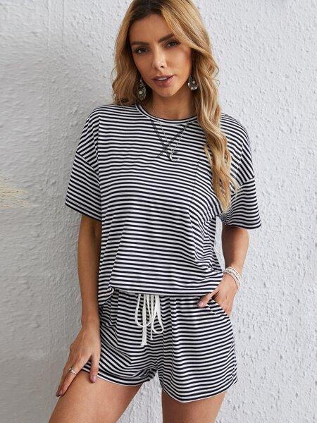 Drop Shoulder Striped Tee & Shorts Set