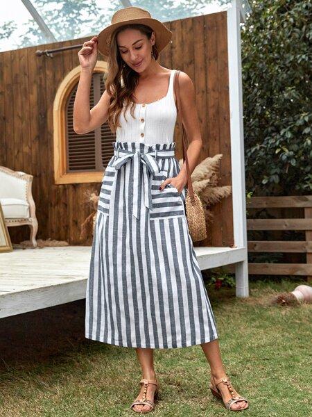 Paperbag Waist Slant Pocket Striped Skirt