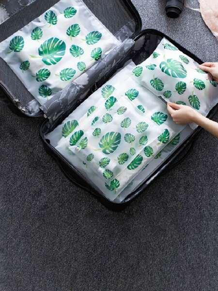 5pcs Leaf Print Travel Storage Bag Set
