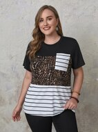 Plus Cut And Sew Cheetah And Stripe Print Tee