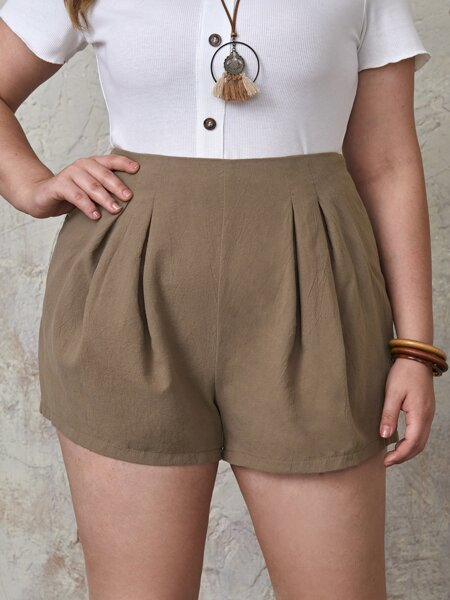 Plus Solid Pleated Detail Shorts