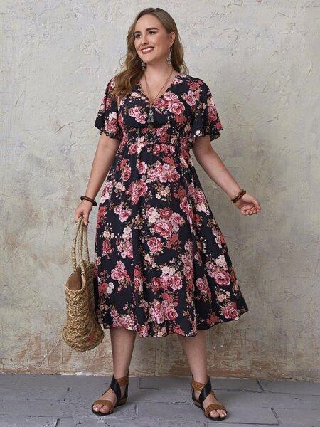 Plus Allover Floral Shirred Wrap A-line Dress