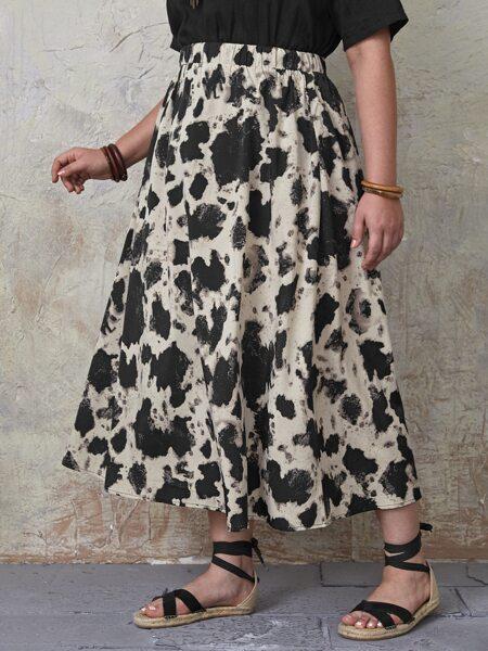 Plus Allover Print Flared Skirt