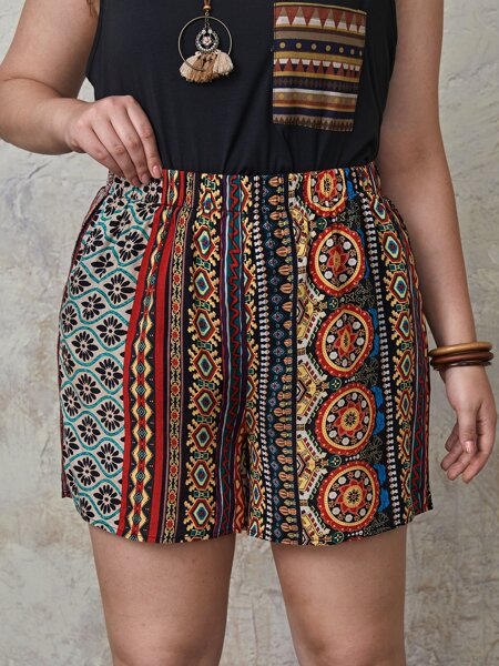 Plus Geo And Striped Print Shorts